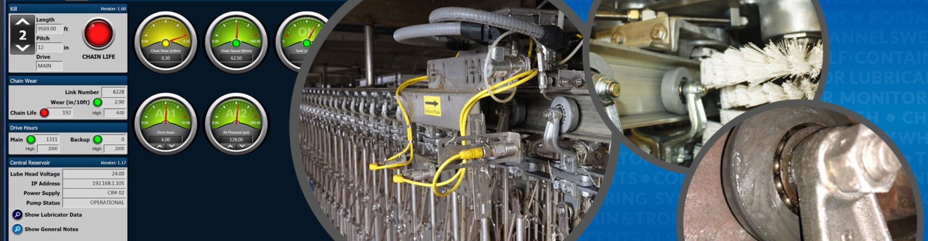 sistemas de lubricación y monitoreo de transportadores y cepillos de limpieza de transportadores para transportadores en plantas de procesamiento de alimentos