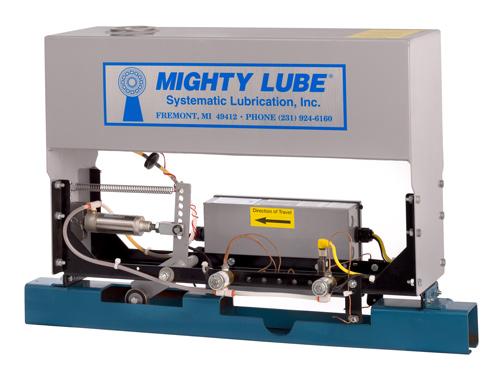 Vista posterior del lubricador autónomo modelo 2000L para transportadores de vía única Unibilt o de vía rápida