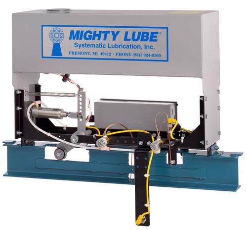 Mighty Lube Lubricador de transportador autónomo de línea simple para transportadores de vigas en I Lubricador modelo 2104L para transportadores de 4 pulgadas
