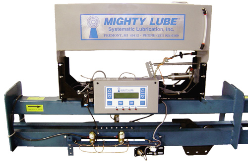 Mighty Lube Modelo 2005L Lubricador de transportador autónomo de potencia y libre para una línea de transportador