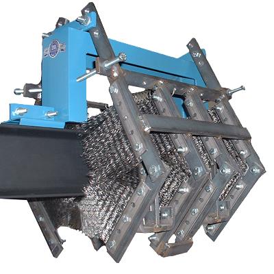Cepillos de limpieza de cadenas modelo 400I, limpia cadenas y carros en transportadores de vigas en I de 4 pulgadas