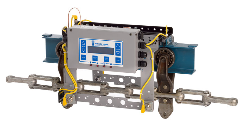 Mighty Lube head unit for permanent monitoring system for multiple conveyors