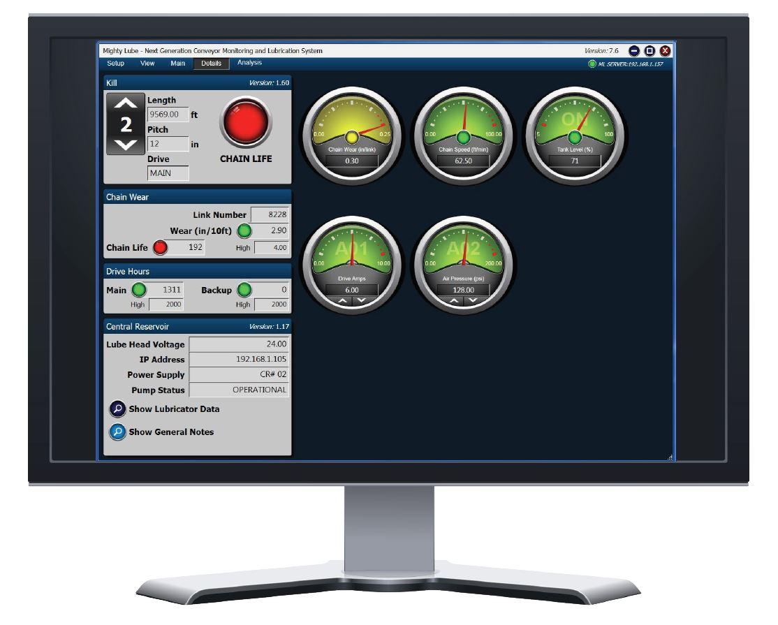 Pantalla de detalles del software del sistema de monitoreo de transportadores de próxima generación