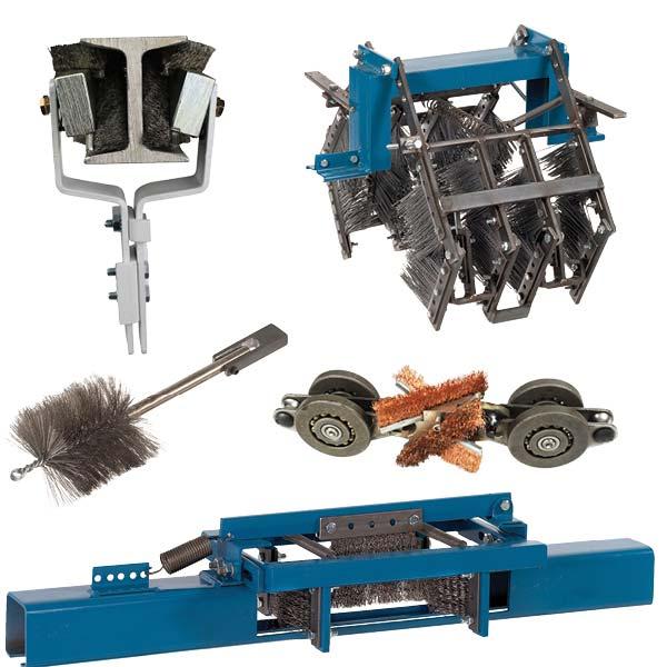 collage de imágenes de cepillos transportadores no motorizados Mighty Lube para limpiar transportadores aéreos