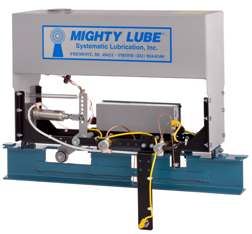 Mighty Lube Self Contained Single Line Conveyor Lubricator for I-Beam conveyors Model 2104L lubricator for 4 inch conveyors