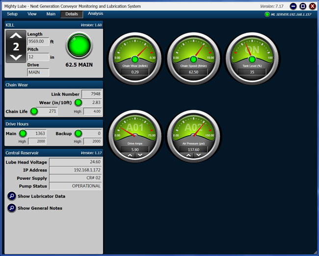 Mighty Lube Conveyor Monitoring System Software Details screen