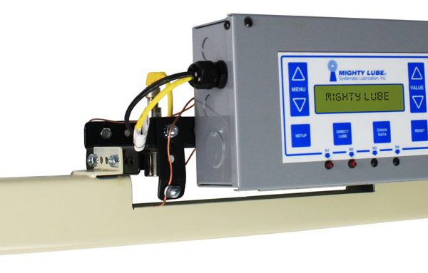 Mighty Lube Model 9000L conveyor lubrication head unit for richards-wilcox enclosed track conveyors