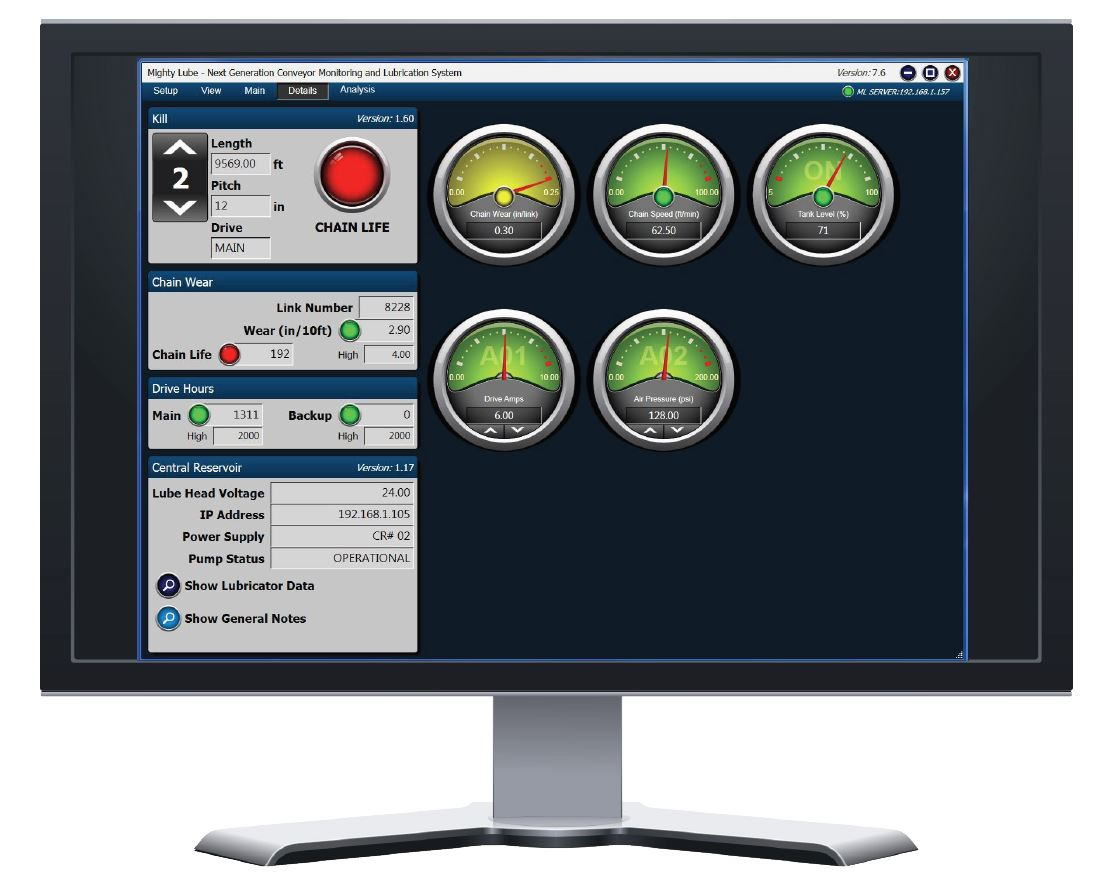 Next Generation Conveyor Monitoring System software details screen
